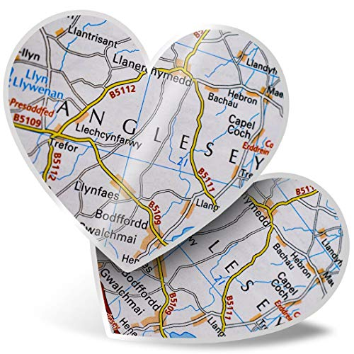 Awesome 2 x Heart Stickers 15 cm - Anglesey Wales Welsh Travel UK GB Map Fun Decals for Laptops,Tablets,Luggage,Scrap Booking,Fridges,Cool Gift #44100