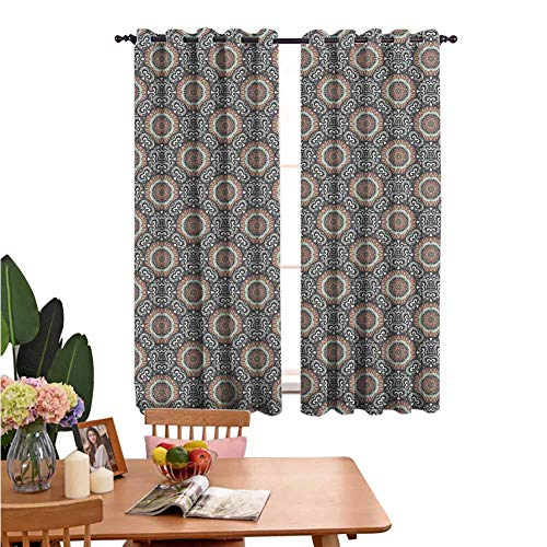 Perforated Curtains Window Decoration Curtain Motifs from Middle Culture Design Elements Geometrical Umber Seafoam Dimgray Multifunctional Power Off Curtain Set of 2 Panels W72 x L84