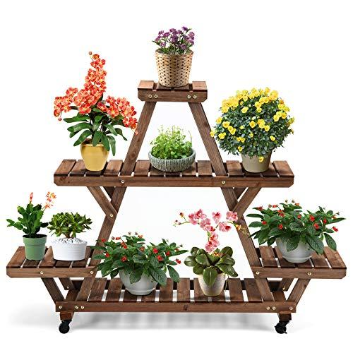 COSTWAY Blumentreppe mit Rollen, Pflanzentreppe Blumenregal, Blumenständer Holz, Pflanzenregal Garten, Holzregal mehrstöckig