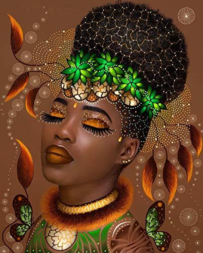 Rsabub DIY 5D Diamante Kit De Pintura_Mujer Africana Diamond Painting 40x50cm_Cristal Bordado de Punto de Cruz decoración de Pared