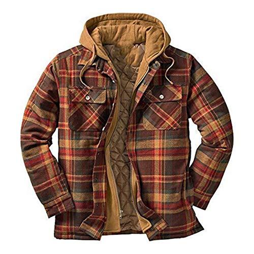 Buhui Chaqueta retro a cuadros para hombre, con forro de franela, gruesa con capucha, con cierre de patchwork, sudadera térmica