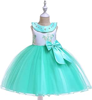 SEASHORE Princess Skirt Satin Girl Bow Flower Girl Wedding Performance Piano Costume 4-12 Years Old (Color : Green, Size : 6-7T)