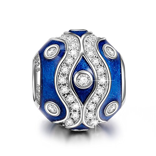 NINAQUEEN Charm fit Pandora Charms Blue Women's Jewellery Best Gifts with Jewellery Box 925 Sterling Silver Antibacterial Properties