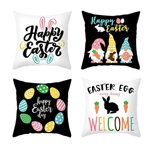 Moent 4 fundas de almohada de Pascua, fundas de cojín de sofá, huevos de Pascua, conejo, muñeco sin rostro, funda de almohada de gnomo, decoración del hogar, regalos de festivales