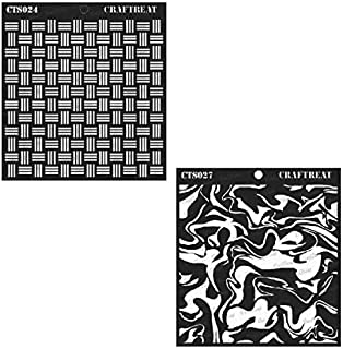 CrafTreat Stencil - Basket Weave and Marble (2 pcs) - Reusable Painting Template for Notebook, Home Decor, Crafting, DIY Albums, Scrapbook and Printing on Paper, Floor, Wall, Tile, Fabric 6x6 inches