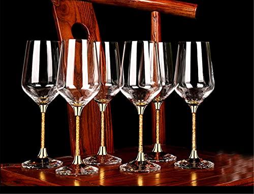 NAXIAOTIAO Luxus 24 Karat Gold Blatt Kristall Weingläser, Gläser Set Von 6 Urlaub Weingläser Exquisite Geschenkbox