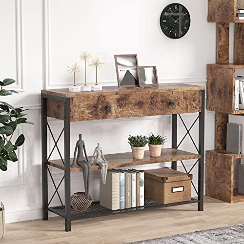 Tribesigns Mesa de Consola, Mesa de Entrada Consola con Cajones & Estantes, Vintage Mueble Mesa Recibidor, para Pasillo, Salón, 100x30x80cm
