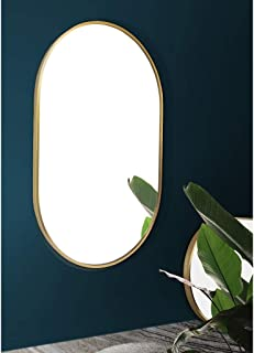 WYXIAN Nordic Oval Wall-Mounted Bathroom Mirror, Makeup mirror丨Vanity Mirror丨Shaving Mirror, Gold Metal Framed Mirror, Fashion Bathroom Decoration(52 * 83cm) (Color : Black, Size : 52 * 83CM)