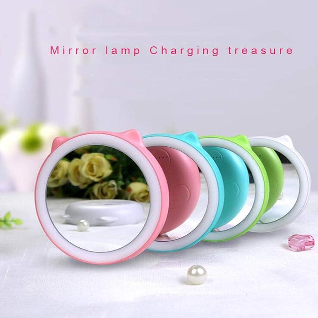 ひどいマット護衛流行の ポータブルLED化粧鏡充電宝物充填光鏡多機能タイミングデザイン美容鏡化粧鏡4ブルーグリーンピンクホワイト直径9センチ厚さ2センチ (色 : Pink)