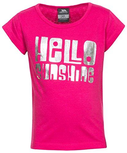 Trespass - Camiseta de Manga Corta para niños de 2 a 12 años, diseño con Texto en inglés Hello Team, Hola (Hello), Infantil, Color Pink Lady, tamaño Talla: 9/10
