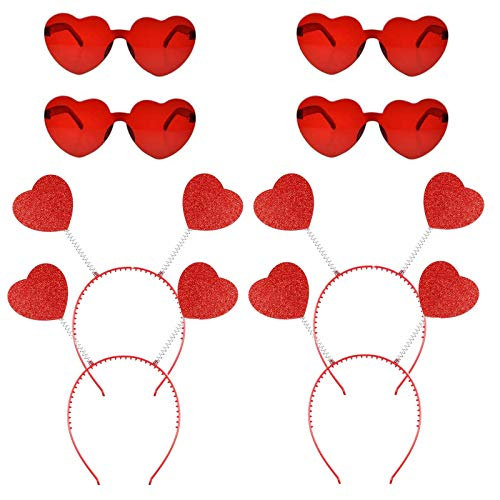 8 PCS Valentines Heart Headband Antenna Boppers Headbands and Heart Shape Sunglasses for Party Props Holiday Costume Accessory