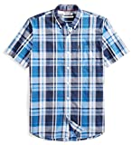 Amazon Brand - Goodthreads Men's Standard-Fit Short-Sleeve Large-Scale Plaid Shirt, Blue/Navy, Large