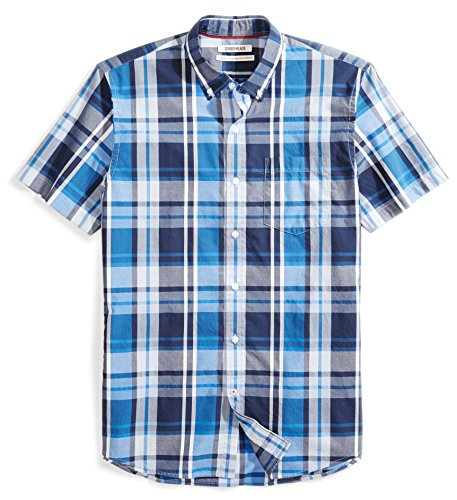 Amazon Brand - Goodthreads Men's Standard-Fit Short-Sleeve Large-Scale Plaid Shirt, Blue/Navy, X-Large