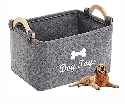 Brabtod Cesta de juguete de fieltro para mascotas y contenedor de almacenamiento de accesorios, perfecto para organizar juguetes de mascotas, mantas, correas y alimentos gris-S