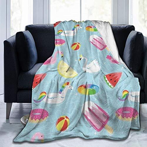 QIUTIANXIU Mantas para Sofás de Franela 150x200cm Flotadores Piscina de Verano Dibujos Animados Divertidos Helado Sandía Flamingo Donut Anillo de natación Manta para Cama Extra Suave