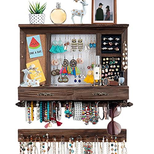 Organizador de joyas de pared, soporte de madera rústico, con barra para joyas, soporte de pared, para collares, pendientes, pulseras, anillos