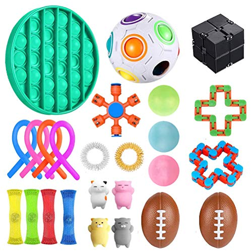 Sensory Fidget Toys Set, 25Pcs, Stress Relief and Anti-Anxiety Tools Bundle Sensory Toys Set Sensory Therapy Toys for ADHD Autism Stress Anxiety