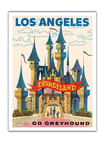 Los Angeles California - Disneyland - Go Greyhound - Vintage Advertising Poster c.1950s - Premium 290gsm Bamboo Paper Art Print 12x16in