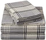 Amazon Brand – Pinzon Plaid Flannel Bed Sheet Set - California King, Grey Plaid