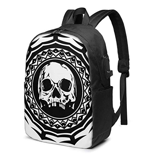 Hdadwy Abstract Black and White Skull Laptop Backpack Business Travel Durable Laptops Backpack with USB Charging Port College School Computer Bag for Women Men Fits 15.6 Inch Laptop and Notebook Black