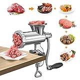 Kacsoo Picadora de Carne Manual de Acero Inoxidable Máquina de llenado de Salchichas con manivela Máquina de llenado de Carne Multifuncional para el hogar para Carne de Res, Pescado, Pollo