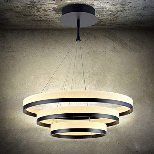 JYXGFSQ Modern LED Dining Room Pendant Lamp Black Pendant Lamp Height Adjustable Living Room Lamp 3-Lights Warm Light 3000K Round Hanging Lamp Iron Acrylic Dining Table Villa Cafe Kitchen &