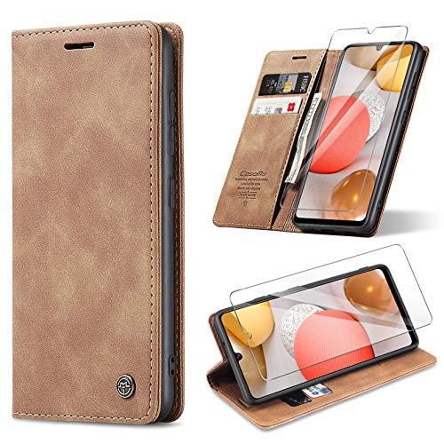 ivencase Handyhülle Kompatibel mit Samsung Galaxy A42 5G Hülle, mit Kartenfach Geld Slot Ständer Flip Schutzhülle für Samsung A42 5G Wallet Hülle PU Leder & Panzerglas Schutzfolie (braun)