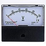 heschen rectangular Voltímetro analógico panel V Voltaje Cuchillo DH de 670 DC 0 – 100 V Clase 2,0