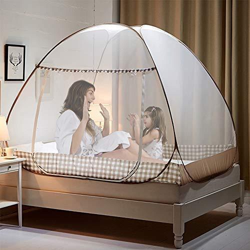 ZEHNHASE Mosquiteras desplegables para camas dobles, 200 * 180 * 150cm cremalleras de doble puerta mosquiteras portátiles las mordeduras anti del mosquito