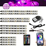 Motorcycle LED Light Kit Strips XTAUTO 12Pcs Waterproof Multi-Color Accent Glow Underglow Neon Ground Effect Atmosphere Lights Lamp with APP Wireless Remote Controller for Harley Honda Kawasaki Suzuki