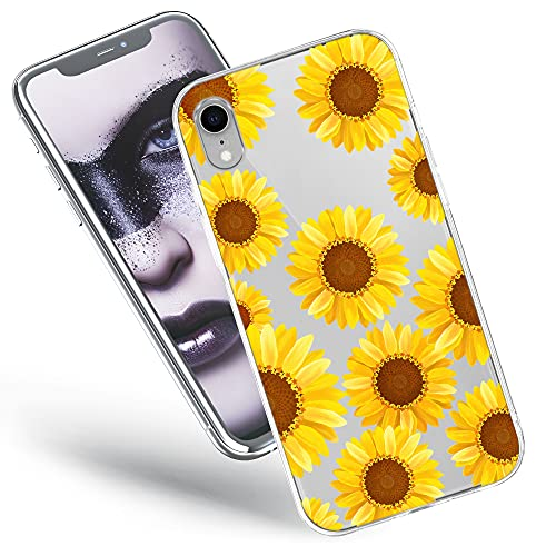 Cover Compatible with iPhone XR Case Transparent Slim Thin Bumper Silicone Protective Bumper with Design Yellow Sunflowers