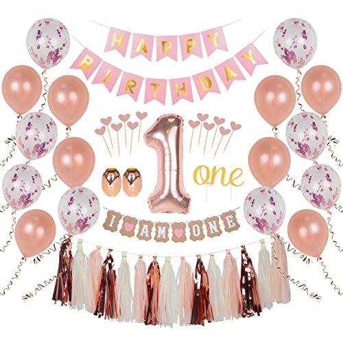 Ellia First Birthday Girl Decorations, 1st Smash Cake Fun Party Set, Rose Gold Pink Decor -