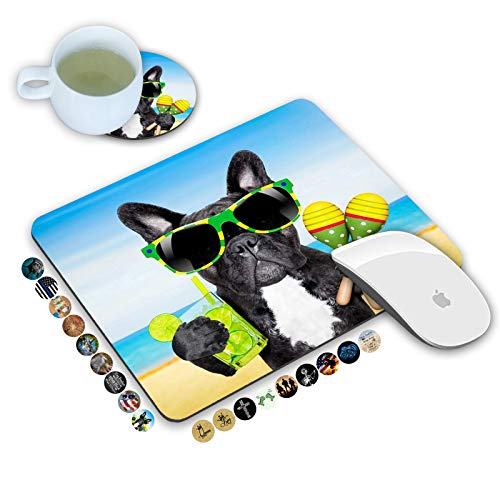 LOWORO Mouse Pad and Coasters Set, French Bulldog Dog Sunglasses on The Beach Mouse Pad, Non-Slip Rubber Base Rectangle Mouse Pads for Laptop and Computer Office Accessories