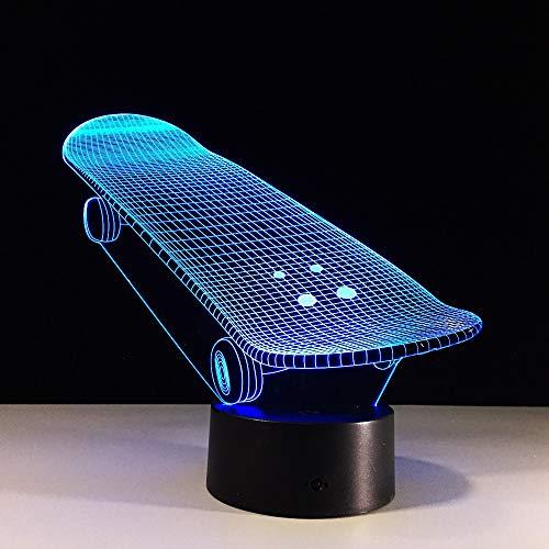 Tianyifengg LED Nachtlicht-3D Vision-Sieben Farben-Fernbedienung-Acryl Skateboard Lichter Roller Wohnzimmer Dekoration Sport Geschenk Änderungen