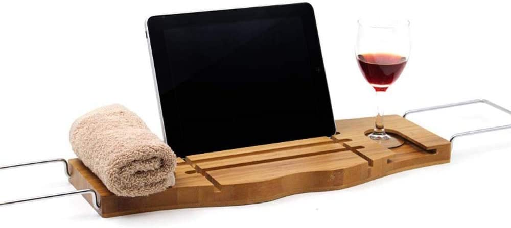 Memphis Mall Atten Bamboo Bathtub Max 53% OFF Caddy Tray with Extending Sides,Laptop De