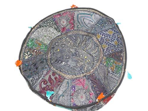India colors. Puff hindú (Redondo Patch) cojín Funda Bordado Artesanal Hecho a Mano en India. (Tono 1)
