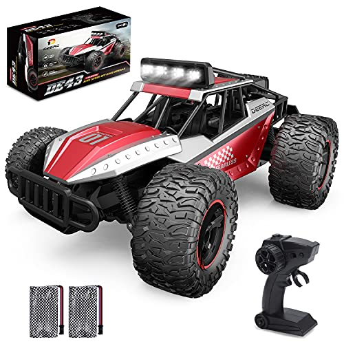 DEERC DE43 Remote Control Car 1:14 Scale RC Cars, 25KM/H High Speed RC Monster Truck Crawler Toy for Kid Adult, 2.4Ghz 2WD All Terrain Alloy Shell LED Light 2 Batteries for 90 Min, Gift for Boys Girls