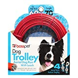 MPP Aerial Dog Run Tie Out Sky Trolley System Holds Up to 60lbs Choose Cable Length (70 Feet)