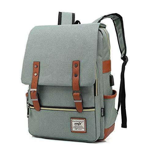 Vintage Backpack For Teen Girls Boys, Unisex Laptop Bag for Women Men, School College Bookbag Backpack With USB Charging Port (1-(Light green USB))