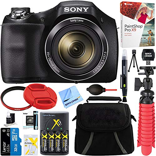 Sony Cyber-Shot DSC-H300 Black Digital Camera + 32GB Memory Card, Battery & Accessory Bundle