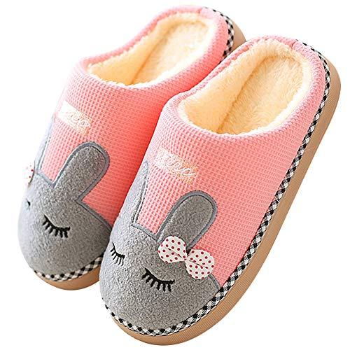 Flyd Winter Warme Plüsch Hausschuhe Damen Herren Baumwolle Gefüttert Hasen Pantoffeln Weiche rutschfest Indoor Slippers,37/38 (Herstellergröße 38-39),A-pink