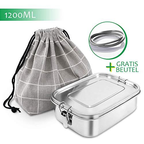 KYONANO Brotdose Edelstahl, Lunchbox Edelstahl 1200ML, Auslaufsicher Brotdose Metall mit Fächern, Bento Box mit Trennwand&Naturbaumwollbeutel, Nachhaltig, BPA- und Plastik-Frei für Kinder&Erwachsene