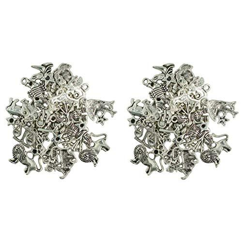 Sharplace 12 Sternzeichen Zwölf Sternbild Symbol Glücksbringer Anhänger für DIY Halskette Armband Schmuck Herstellung Zubehör (2 Sätze, 48 Stück, Tibetisches SI