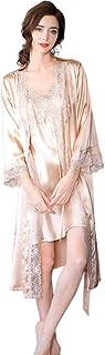 100% Seda Batas Mujer Sexy Encaje Conjuntos Mujer Camisón Lencería Pijama de Seda Cuello V Ropa Dormir