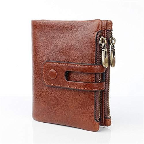 Lussebaby Brieftasche Coin Schlüssel Beutel Geldbeutel Geldbörsen Portmonee RFID Top Layer Oil Leder Casual Leder Herren Geldbörse, Braun
