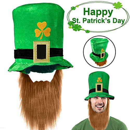 ONMET Cappello da Giorno di San Patrizio con Barba - Cappello a Cilindro Verde per Adulto Irlanda Costume Party Accessorio Decorazione (Large Size-7 in) 2019 Upgrade Velvet Leprechaun