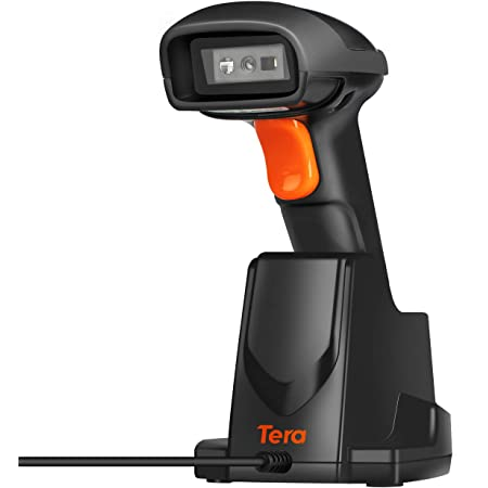 Tera [Pro Series] 1D 2D QR Wireless Barcode Scanner 328Ft Extra Fast Long Transmission, Super Fast Scanning Speed, 433mhz Wireless Handheld Desktop Bar Code Reader with USB Charging Cradle Stand
