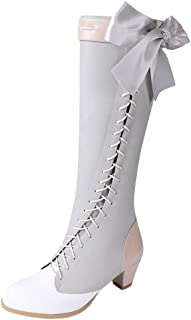 Sweet Knee High Boot with Bow Mid Heels Zipper