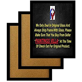 Paintings Villa A4 Size Synthetic Wood and Glass Photo Frame (Black, 12X8 Inch) Set of 3