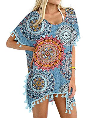 Yincro Women's Chiffon Swimsuit Beach Bathing Suit Cover Ups for Swimwear (Mix Flower, Size C)